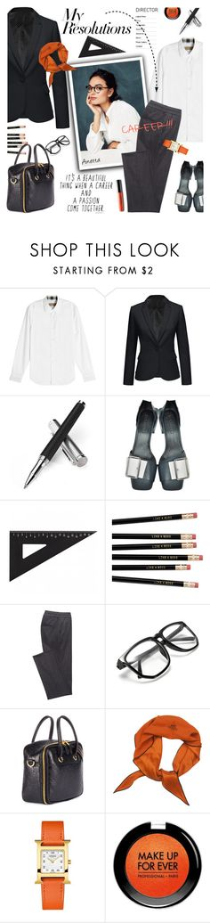 """#PolyPresents: New Year's Resolutions"" by lacas ❤ liked on Polyvore featuring Burberry, Aspinal of London, Jil Sander, Balenciaga, Hermès, MAKE UP FOR EVER, contestentry and polyPresents"