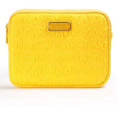 Marc by Marc Jacobs Adults Suck Neoprene Mini Tablet Case (520 MXN) ❤ liked on Polyvore featuring accessories, tech accessories, giallo, neoprene tablet sleeve and marc by marc jacobs