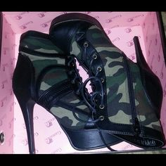 "Boots 6"" camouflage laceup boots...worn only once Shoes"