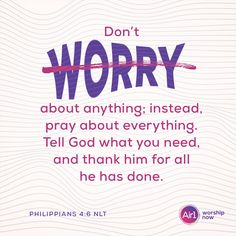 Don't worry about anything; instead, pray about everything. Tell God what you need, and thank him for all he has done. –Philippians 4:6 NLT #VerseOfTheDay #Bible Philippians 4 6, Baby Zebra, Daily Bible, Gods Promises, Verse Of The Day, Love Letters, Worship, No Worries, Bible Verses