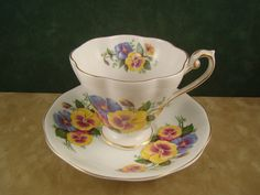 VTG Royal Standard Bone China Teacup & Saucer - Pansies Flowers - Made England #RoyalStandard