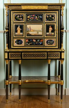 Ch 37.2 Richard sat down at a small secretaire near the earl's bed, and wrote a letter to be sent by courier to Lady Miranda, notifying her that he would arrive shortly to collect the child. This pic - Louis XVI cabinet-secretaire by Adam Weisweiler