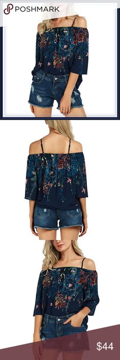 🆕 Navy Blue Off The Shoulder Floral Fireworks Top ➖SIZE: Small, medium, large , XL/1X  ➖STYLE: Floral off the shoulder top with spaghetti straps   ❌NO TRADE Tops Blouses