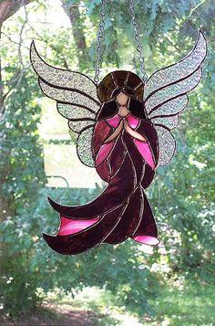 Stained Glass Suncatcher Angel in Purple Dress