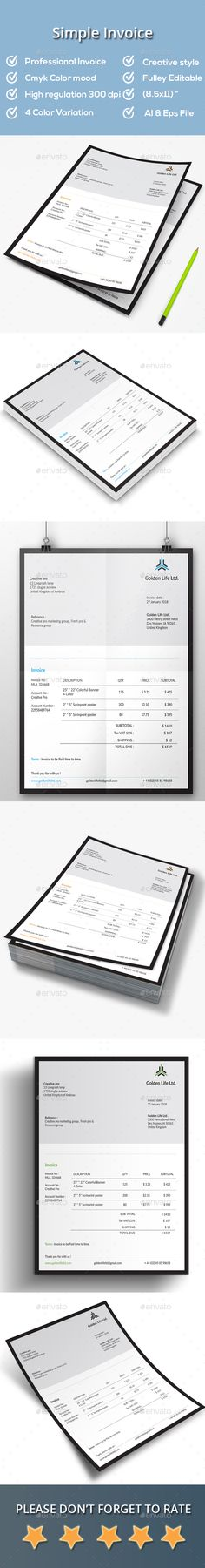 Invoice Cartoleria, Colori e Parole - simple invoice