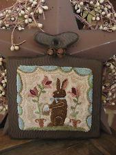 "Primitive Punch Needle ~""SPECKLED EGGS""~ Rabbit ~ Folk Art on Wooden Hornbook"