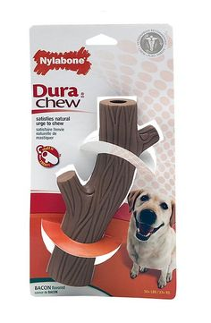 Dog begs for bacon? Tail wags for chew toys? Then the Nylabone Dura Chew Hollow Stick Bacon Flavored Chew Toy is a guaranteed big hit. This durable toy is made from tough yet chewable nylon and features a unique hollow center and fun stick design with textured ridges that work to remove plaque and tartar from his teeth while freshening up his breath for all those face licks he loves to give. Stuff it with a treat for an extra-special surprise!