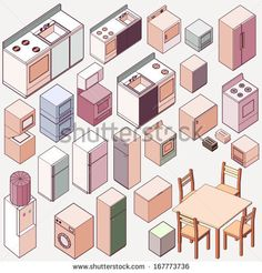 Vector isometric kitchen icon set. make kitchen interior with custom furniture and home appliance set by wibowo, via Shutterstock