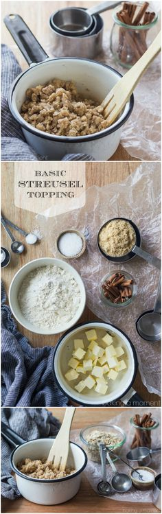I find myself using this basic streusel recipe ALL THE TIME! It's so good on breads, muffins, and fruit crisps, and you can customize the recipe in so many different ways.