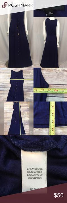 🌾Sz Medium Spense Navy Button Down Tie Maxi Dress Measurements are in photos. Normal wash wear, no flaws. A1/51  I do not comment to my buyers after purchases, due to their privacy. If you would like any reassurance after your purchase that I did receive your order, please feel free to comment on the listing and I will promptly respond.   I ship everyday and I always package safely. Thank you for shopping my closet! Spense Dresses Maxi