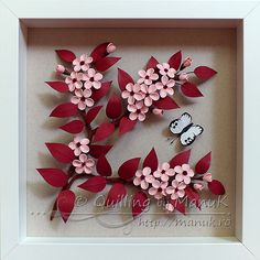 Quilled Cherry Plum Blossom and a Butterfly in a Shadowbox Frame - Framed Quilling Artwork by ©Quilling by ManuK (Manuela Koosch).
