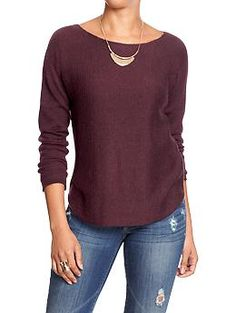 Womens Boat-Neck Curved-Hem Sweater IN RAISIN ARIOZONA and BLACK
