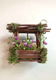 Mini Fairy Window 3 inch by 3 inch size, add Fairy S.-Mini Fairy Window 3 inch by 3 inch size, add Fairy Shoes see below option~ Handcrafted by Olive ~ always one of a kind Mini Fairy Window 3 inch by 3 inch size add Fairy Fairy Garden Furniture, Fairy Garden Houses, Diy Garden, Garden Crafts, Garden Projects, Garden Basket, Fairy Gardening, Fairy Shoes, Deco Floral