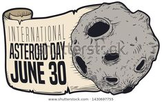 Design like sticker showing an asteroid with greeting scroll like tail in hand drawn style over white background to celebrate International Asteroid Day in June Hologram, Hand Drawn, How To Draw Hands, Royalty Free Stock Photos, June 30, Stickers, Drawings, Day, Illustration
