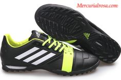 Adidas Nitrocharge 1.0 TRX TF Soccer Cleats Black White Light Green Soccer Cleats