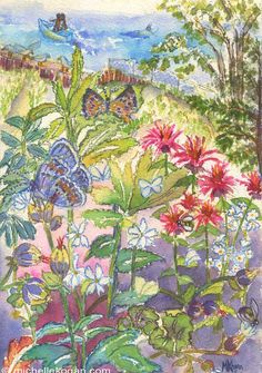 Archival Watercolor Print, Butterflies & Bees by the Dunes, Art, Decor by Michelle Kogan, Karner Blue, Seagulls, Wildflowers, Boats