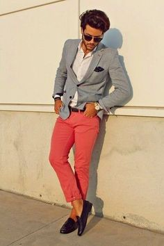Pairing Pink Chinos with Grey Blazer , White Shirt and Dark Purple Leather Tassel Loafers which gives a stunning look