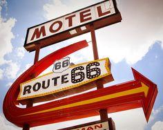 Vintage Kingman Arizona Route 66 Motel Neon Sign with Giant Arrow