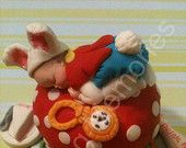 Baby Rabbit Sitting on a Mushroom/Edible Cake Toppers/Fondant/Gumpaste/BABY SHOWER/First Birthday or any Celebration