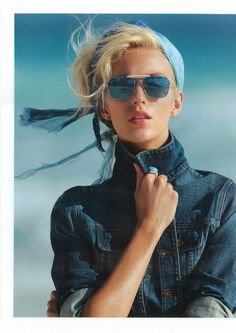 "Vogue Paris April 2012 (Supplement) ""Bleu intégral"" Model: Anja Rubik Photographer: Hans Feurer Stylist: Géraldine Saglio"