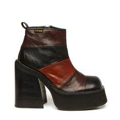 Nebula 90s Black & Brown Panel Leather Platform Ankle Boot // Size 7