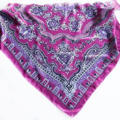 Magenta Paisley head scarf, Gift for Sister, Berry pink Paisley scarves, Coworker Gift, Orchid Pink Paisley Scarf Bright Pink Scarf by blingscarves. Explore more products on http://blingscarves.etsy.com