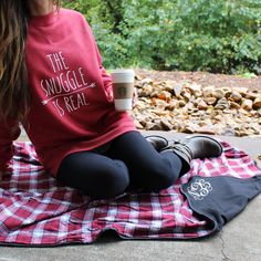 The Snuggle Is Real! Get this cute sweatshirt from LakesideCotton.com! And snuggle with this Monogrammed Plaid Flannel Blanket from Marleylilly!