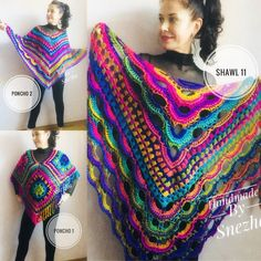 Rainbow Poncho Pride Women, Crochet outlander Triangle Shawl Wraps Fringe, Plus size Festival Vegan, Mom-Birthday-Gift-from-Daughter Rainbow Poncho Pride Women Crochet outlander Triangle Shawl image 7 Poncho Au Crochet, Crochet Shawls And Wraps, Knitted Shawls, Poncho Shawl, Shawl Pin, Wool Poncho, Easy Crochet, Plus Size Festival Outfit, Festival Outfits