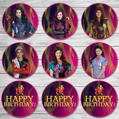The Descendants Cupcake Toppers Pink Purple/ The Descendants Birthday Party / The Descendants Stickers Printable Favors / Mal and Evie 9th Birthday, Birthday Party Themes, Birthday Ideas, Birthday Shirts, Birthday Cakes, Descendants Cake, Descendants Songs, Descendants Characters, Mal And Evie
