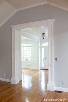 How to build big, bulky, decorative columns DIY: How to Build Decorative Columns for a Doorway - using stock lumber, MDF and trim mouldings. This is an excellent tutorial that shows each step - via Sawdust Girl: Home Upgrades, Home Renovation, Home Remodeling, Bedroom Remodeling, Sawdust Girl, House Trim, Moldings And Trim, Window Molding Trim, Door Moulding