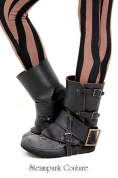 Vintage leather gaiters with added faux leather foot belt and metal antique brass style buckle.
