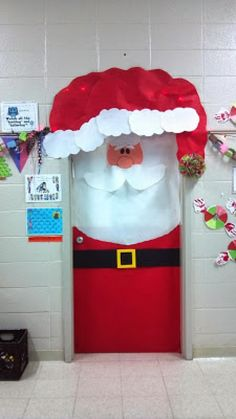 Spread holiday cheer with this easy to make Santa Door decoration! Part of the top 10 Christmas Classroom decorations in Spread holiday cheer with this easy to make Santa Door decoration! Part of the top 10 Christmas Classroom decorations in Office Christmas, Christmas Art, All Things Christmas, Father Christmas, Christmas Classroom Door Decorations, Christmas Cooking, Beautiful Christmas, Christmas Lights, Christmas Ornament