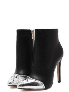 Chic Sexy Contrast Color Zipper Point Toe Slim Heel Women Black Boots