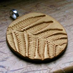 Gold Polymer Clay Fern Necklace by MagnoliaFern on Etsy, $10.00
