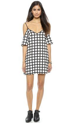 re:named Grid Lines Cold Shoulder Dress