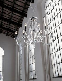 375/5 Sospensione 5 luci color Trasparente  lampada a sospensione (lampadario) a 5 luci (5 bracci) disponibile in cristallo trasparente e montatura cromo oppure in cristallo color ambra e montatura oro.