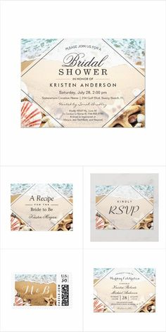 Sandy Beach Starfish Seashell Wedding Invitation Suite Beach Wedding Invitations, Wedding Invitation Design, Fall Signature Drinks, Wedding Themes, Wedding Events, Engagement Party Favors, Seashell Wedding, Welcome To The Party, Photo Booth Backdrop