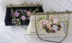 Alkalmi, színházi táskák Embroidery Purse, Ribbon Embroidery, Clutch Purse, Coin Purse, Frame Purse, Ribbon Work, Fabric Bags, Handmade Bags, Diy And Crafts