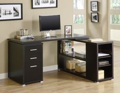 """Cappuccino Hollow-Core Left Or Right Facing Corner Desk - Monarch Specialties hollow-core """"L"""" shaped computer desk will be a stunning focal point in your contemporary home office. This simple and stylish piece features thick panels and clean li Desk With File Drawer, Desk With Drawers, Filing Cabinet Desk, Pc Desk, Work Desk, Home Office Desks, Home Office Furniture, Corner Furniture, Furniture Sets"""