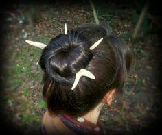 Deer Antler Hair Pin Set - Made from Deer Antler by FindleysDreamTree on Etsy Deer Antlers, Hair Sticks, Forks, Bun Hairstyles, Hair Looks, Earthy, Hair Pins, Your Hair, Looks Great