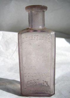$32.95 VTG Purple Glass Scheffler's Hair Colorine Bottle 1890s Apothecary Rx Coloring