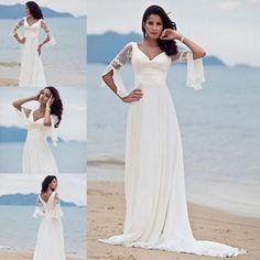 Romantisch Weiß Brautkleider Hochzeitskleider Langarm Günstig Gr.36 38 40 42 44
