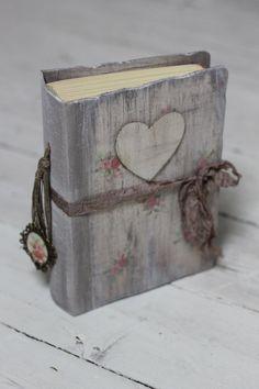 Land schicken primitive Herz Hochzeit Gästebuch von LotusBluBookArt
