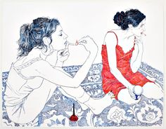 paintings by Hope Gangloff. Not as interested in the subject matter as I am in the painting/drawing style - the selection/unification of colors, decisions of made or unmade surroundings. Art And Illustration, Hope Gangloff, Arte Indie, Girls Girls Girls, Art Graphique, Art Inspo, Painting & Drawing, Hope Painting, Art Drawings