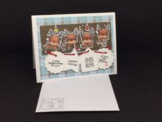 Merry christmas card with envelope - Reindeer card - Hand made di LastanzadiElena su Etsy