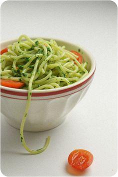 pesto met spinazie, rucola en waterkers