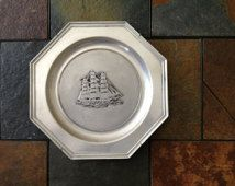 Vintage Wilton Pewter Tall Ship Plate
