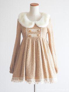 LIZ LISA Winter Caramel Fluffy Dress OP Fur Lolita Hime gyaru SizeF Japan #LIZLISA #PeplumTunic #Party