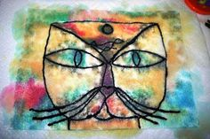 Klee cat using felt and liquid watercolor!