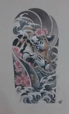 Tiger/cherry blossom/waves